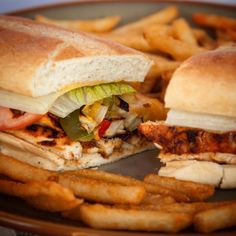 We turn one of your favorite meals into a sandwich: Fajita Melt. Choose steak or chicken, topped off with Jack cheese, tomatoes, onions, bell peppers and lettuce. Served with golden crispy French fries – Great for a quick and delicious meal!