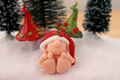 Polymer Clay Baby Gnome with Santa Hat - GnomeWoods