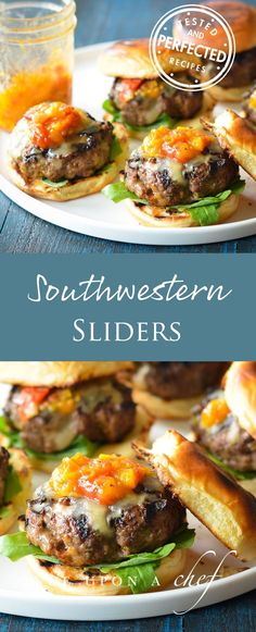 If you're a fan of Juicy Steakhouse Burgers, you'll love these drip-down-your-chin sliders jazzed up with smoky Southwestern spices, jalapeño pepper and Jack cheese. They are phenomenal topped with Roasted Tomato Peach Jam, which is more of a tangy-sweet relish than a true jam — but if you don't want to bother, they're also good with ketchup or salsa. #sliders #southwesternspices