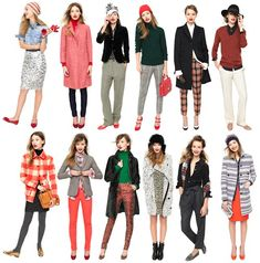 The Holiday Collection from J.Crew is perfection. I want one of each. I especially love the gray blazer and red pant combo in the bottom row.