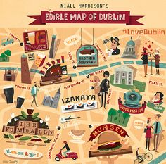 An Illustrated Hipster Food Map - Edible Dublin Dublin Map, Dublin Food, Dublin Hotels, Ireland Map, Ireland Travel, Dublin Travel, Ireland Vacation, Book Of Kells, Dubrovnik