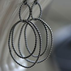 Sterling Silver Hoops Pebbled Beaded Wire Oxidized by gypsystudio, $55.00