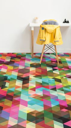 Pop Geometric is a superbly colourful concept for flooring that completely transforms and brightens a room. Featuring colours from all across the spectrum, this is an eye-catching geometric design that will have your space looking more dynamic and full of character. Paired with the right accessories and furniture, this floor can look super stylish and modern, with little effort and cost.#vinyl#flooring inspiration#design#decor