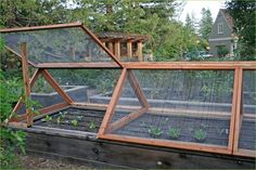 Screens for raised beds to keep out critters in the summer. Drape plastic over in spring and fall to extend growing season.