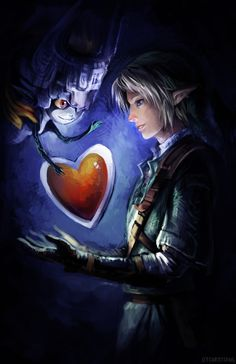 Legend of Zelda Fan Art Link and Midna with a heart container