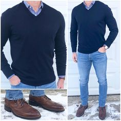 "Mid-Week Blues 🔷🔷🔷 This cold and icy weather 🌬🌨❄️ is giving me the blues 🔵. To battle 🥊 the cold, it's time for warm 🔥 layers and boots❗️ Do you like this outfit❓ Boots: Brandy Wingtips Shirt: ""Check Yourself II"" Sweater: Watch: Gq Mens Style, Men Style Tips, Stylish Men, Men Casual, Mode Ab 50, Terno Slim, Casual Outfits, Fashion Outfits, Fashion Trends"