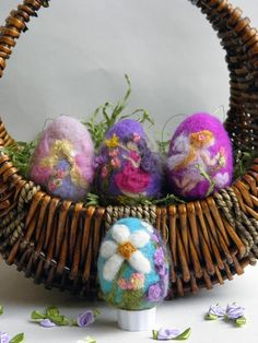 Needle felted Fairy Easter Egg Made to Order by heartfeltpassion, $16.00