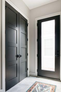 Painted Interior Doors, Black Interior Doors, Black Doors, Farmhouse Interior Doors, Entry Closet, Closet Mudroom, Modern Closet Doors, Up House, House Entrance