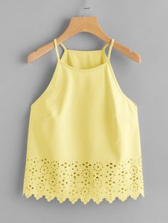 Casual Cami Plain Regular Fit Halter Top and Spaghetti Strap Yellow Regular Length Scallop Laser Cut Cami Top Lace Top Outfits, Casual Skirt Outfits, Summer Outfits, Girl Outfits, Cute Outfits, Fashion Outfits, Cami Tops, Ladies Dress Design, Blouse Designs