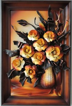 Handmade Leather Art Bouquet Leather Flowers  DBKK7-4AG Handmade Leather Art Bouquet Leather Flowers  Size: (73cm x 49cm)  Frame: Solid Wood, Stained  Colors: Gold,Dark Yellow Brown,Green  Material: Genuine Leather