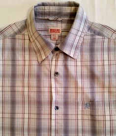 MENS MOSSIMO SUPPLY CO SHORT SLEEVE SHIRT PLAID BLUE GRAY RED WHITE SIZE L #MOSSIMOSUPPLYCO…