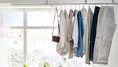 Hang your clothes from a curtain rail in the middle of the room and create a beautiful and unique room divider between a bedroom and home office space. Open Wardrobe, Wardrobe Doors, Wardrobe Rack, Wardrobe Ideas, Hanging Clothes Rail, Small Bedroom Storage, Fashion Showroom, Wood Interior Design, Interior Ideas