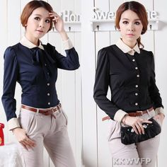 New Women's Vintga Long Sleeve Slim Fit Polo Neck Chiffon Shirt Top Blouse s M L | eBay