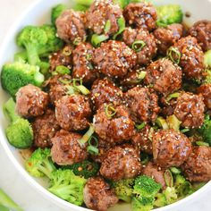 with our new favorite Asian-inspired dish… easy baked meatballs with steamed broccoli and the most killer sugar free, teriyaki… Broccoli Dishes, Steamed Broccoli, Broccoli Beef, Broccoli Recipes, Easy Baked Meatballs, Asian Meatballs, Veggie Fries, Veggie Stir Fry, Asian Recipes