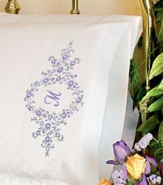 Dimensions Pillowcase Stamped Cross Stitch Daisy Monogram