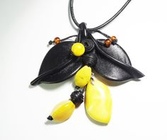 Pendant Leaves black true baltic amber leather vintage by CarvingStudio on Etsy