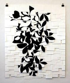 Raymond Saa - charcoal on sewn paper