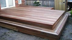 90 x 19 mm spotted gum decking and the inclusion of an inbuilt step. Outdoor Rooms, Outdoor Living, Outdoor Decor, Timber Deck, Wood Decks, Spotted Gum Decking, Backyard Landscaping, Backyard Ideas, Garden Ideas