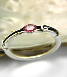 Tourmaline sterling silver ring organic band by nikiforosnelly