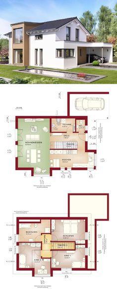 Einfamilienhaus mit Einliegerwohnung - Haus Grundriss Celebration - küche mit kochinsel grundriss