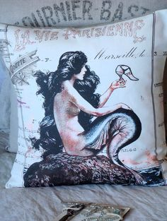 Throw Pillow Cover La Vie Parisienne Cotton and by JolieMarche. $35.00, via Etsy. She has great pillows...