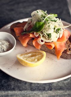 Salmon on Baguette with an Aioli side #sexyfood