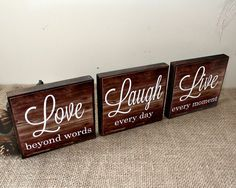 Live Laugh Love Wood Sign - Live Every Moment - Laugh Every Day - Love Beyond Words - Inspirational Home Decor Blocks - Valentines Day Gift Visit my website for more details. Love Wood Sign, Diy Wood Signs, Pallet Signs, Love Signs, Rustic Signs, Wood Block Crafts, Pallet Crafts, Wooden Crafts, Diy Wood Projects