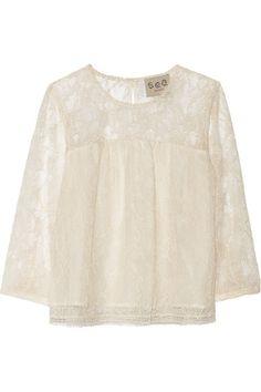 cotton-blend lace top / sea