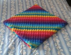 Rainbow blanket in crochet made with extra soft acrylic wool super warm by AirasLovelyKnits on Etsy