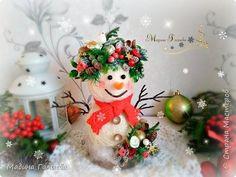 Всем привет!!! Зима и Новый год не за горами, а зимой без снеговика ну никак нельзя. ))) Появился поэтому у меня вот такой чудесный милаха, чтоб  украсить домашний интерьер и стать любимцем и украшением под елочкой или на новогоднем столе !!! фото 1