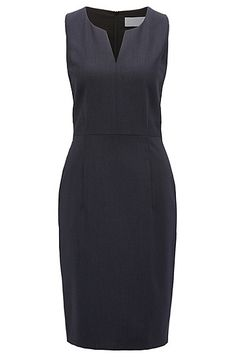 A business dress in virgin wool with a touch of stretch by BOSS Womenswear.   Tailored in a clean design with precise lines and a feminine neckline, this sleeveless piece is finished with a flattering waistband detail.   Add a tailored BOSS jacket for a chic professional look.