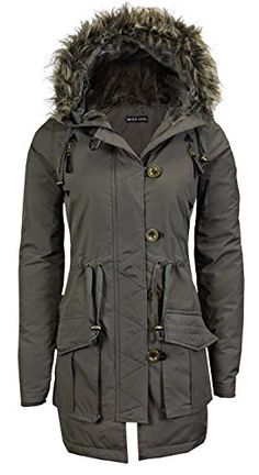 88077e08b2e Samantha s Ladies Military Quilted Hooded Padded Womens Parka Jacket Coat  8-24  Amazon.
