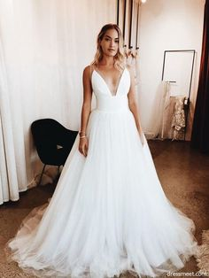Simple V-Neck Long A-Line Tulle Wedding Dresses, Inexpensive.- Simple V-Neck Long A-Line Tulle Wedding Dresses, Inexpensive Wedding Dresses - Informal Wedding Dresses, Inexpensive Wedding Dresses, Informal Weddings, White Wedding Dresses, Prom Dresses, Backless Wedding, Summer Wedding Gowns, Evening Dresses, Romantic Weddings
