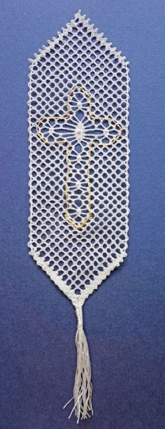 Cross Bookmark Torchon Bobbin Lace