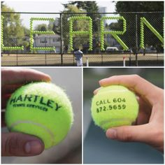 This eye-catching outdoor #ad for a Canadian #tennis school is made up of imprinted tennis balls. Smart way to incorporate #promotionalproducts! Read more here: http://blogs.motivators.com/2014/02/bold-outdoor-ad-made-from-promotional.html.