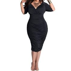 OandN Womens Plus Size Deep V Neck Wrap Ruched Waisted Bodycon Dress >>> Check out this great image  : Plus size evening gowns