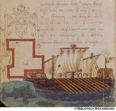 Ricc. 2669, FILIPPO CALANDRI, Trattato di aritmetica Sec. XV, fine; Firenze; bottega di Boccardino il vecchio.  Galeazza a tre vele, c. 107v