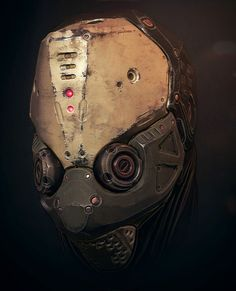 "rhubarbes: "" ArtStation - Mech Head , by Tris Baybayan More robots here. """