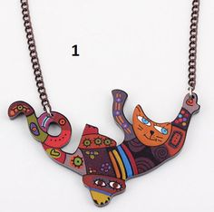 Handmade Cute Acrylic Cat Necklace Pendant  This Necklace Pendant is made of a durable plastic. The charms are flat, back side is white or black.