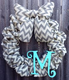 Gray and White Burlap Chevron Monogram Wreath via Etsy