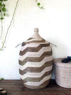 Handmade Laundry Basket (XL) in dark brown & white / Laundry Hamper / African Basket / Senegalese Basket