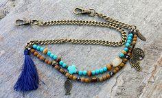Mens Spiritual Bronze Wallet Chain, Blessed Gemstone Tassel Wallet Chain, Bronze Chain and Lock Mens Gift, Husband, Son, Boyfriend Gift