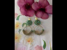 Tutorial de rivolis encerrado y peyote tubular - YouTube Seed Bead Earrings, Beaded Earrings, Seed Beads, Beaded Jewelry, Drop Earrings, Needle Tatting Tutorial, Bracelet Crafts, Earring Tutorial, Peyote Patterns