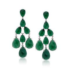 Green Agate Chandelier Earrings in Sterling Silver. Fabulous attention-getters, these green agate chandelier earrings have a pretty, pear-shaped design. >>Click on the earrings to browse more green agate jewelry.
