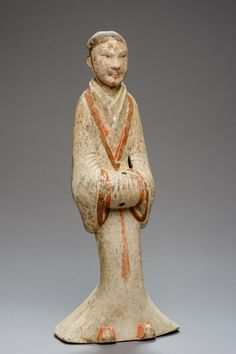 LARGE FIGURE OF A COURT SERVANT Terracotta, cold painting. China, Han Dynasty (206 BC – 220 AD), TL-tested A male Terracotta sculpture from a burial gift and rendered in a particular unusual size, very rare in terms of quality and preservation.
