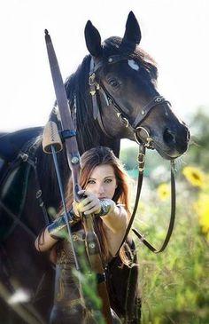 archer girl cosplay | Female Archer Fantasy Horse female archer.
