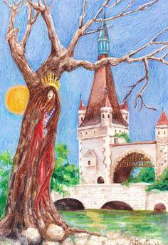 "NFAC ACEO Original Watercolor Painting  Artist B. Donati US 4.25"" x 6"" Mixed Med #Surrealism"
