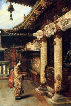 At the Shrine painting by Gyula Tornai (Hungarian 1861-1928)
