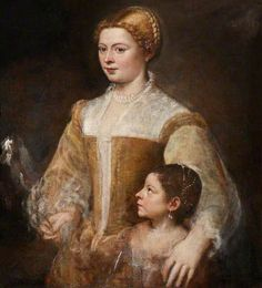 A Patrician Lady and Her Daughter by Titian      Date painted: 1540s     Oil on canvas, 87.5 x 80 cm     Collection: National Trust