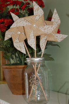 5 Rustic Wedding Decor Burlap Lace Pinwheels Pearl by SewSoapy, $20.00